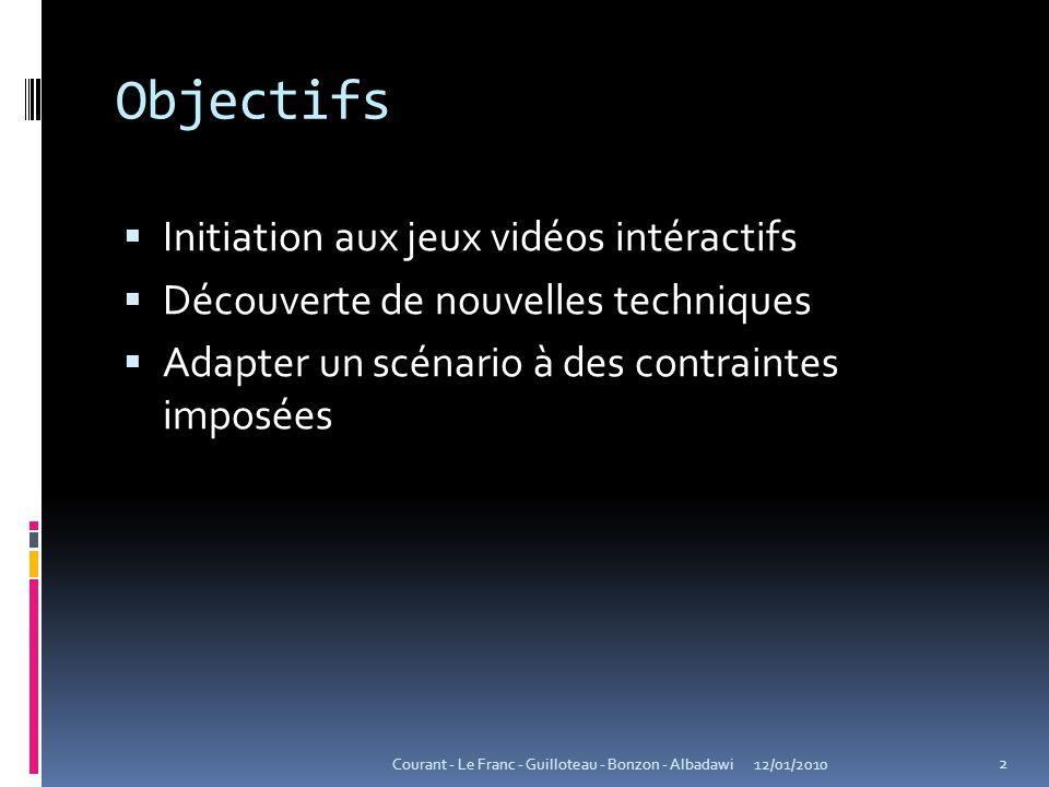 Objectifs  Initiation aux jeux vidéos intéractifs  Découverte de nouvelles techniques  Adapter un scénario à des contraintes imposées 12/01/2010 2