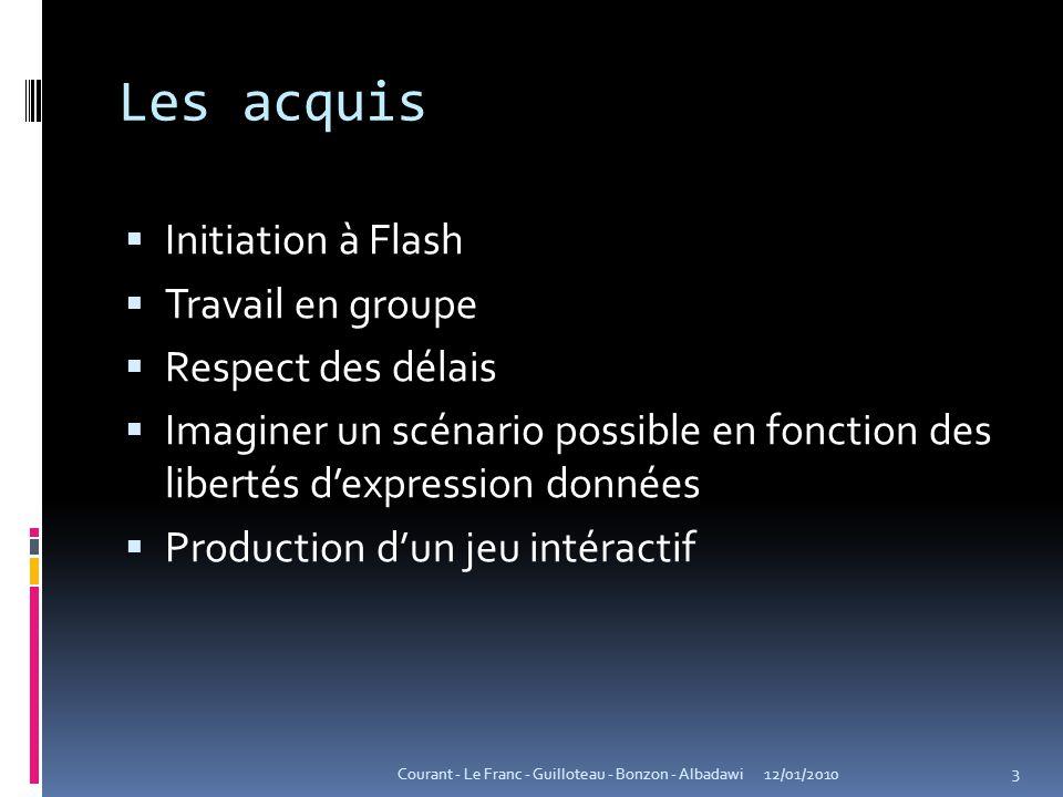 Les acquis  Initiation à Flash  Travail en groupe  Respect des délais  Imaginer un scénario possible en fonction des libertés d'expression données