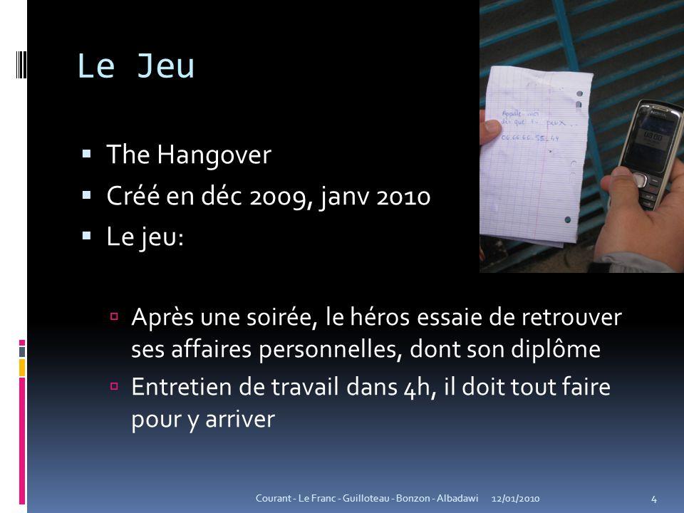 Le Jeu  The Hangover  Créé en déc 2009, janv 2010  Le jeu:  Après une soirée, le héros essaie de retrouver ses affaires personnelles, dont son dip