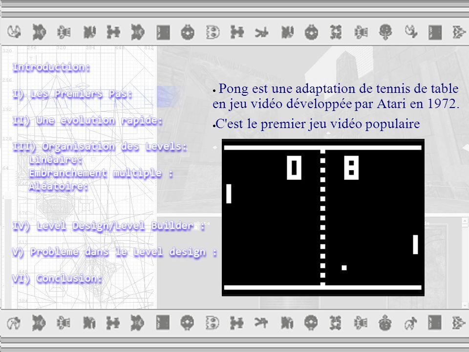  Pong est une adaptation de tennis de table en jeu vidéo développée par Atari en 1972.