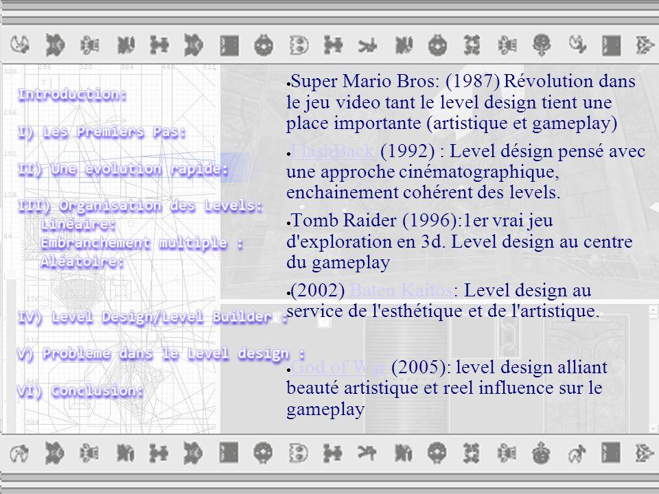  Super Mario Bros: (1987) Révolution dans le jeu video tant le level design tient une place importante (artistique et gameplay)  FlashBack (1992) : Level désign pensé avec une approche cinématographique, enchainement cohérent des levels.