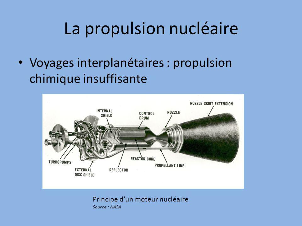 La propulsion nucléaire Voyages interplanétaires : propulsion chimique insuffisante Principe d'un moteur nucléaire Source : NASA
