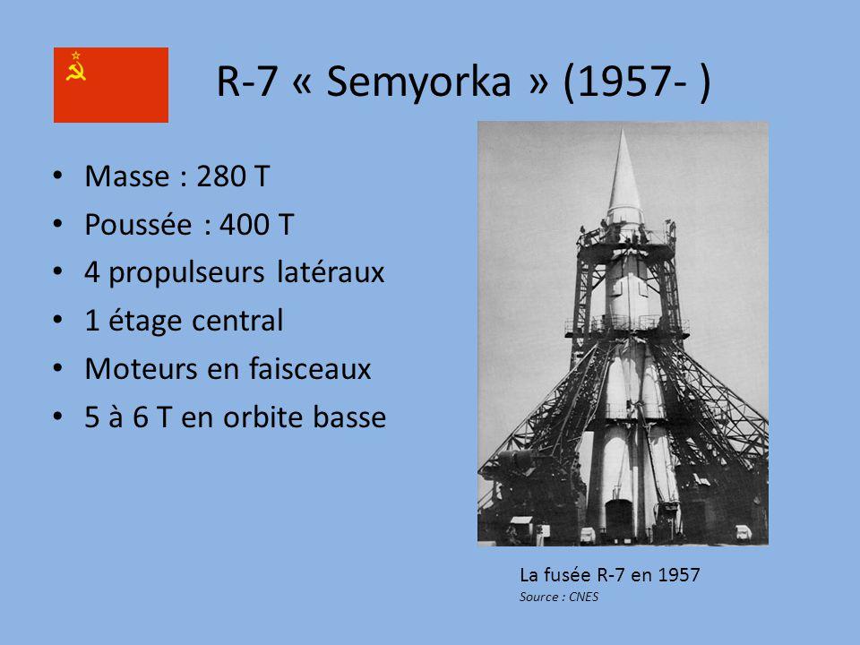 R-7 « Semyorka » (1957- ) Masse : 280 T Poussée : 400 T 4 propulseurs latéraux 1 étage central Moteurs en faisceaux 5 à 6 T en orbite basse La fusée R-7 en 1957 Source : CNES