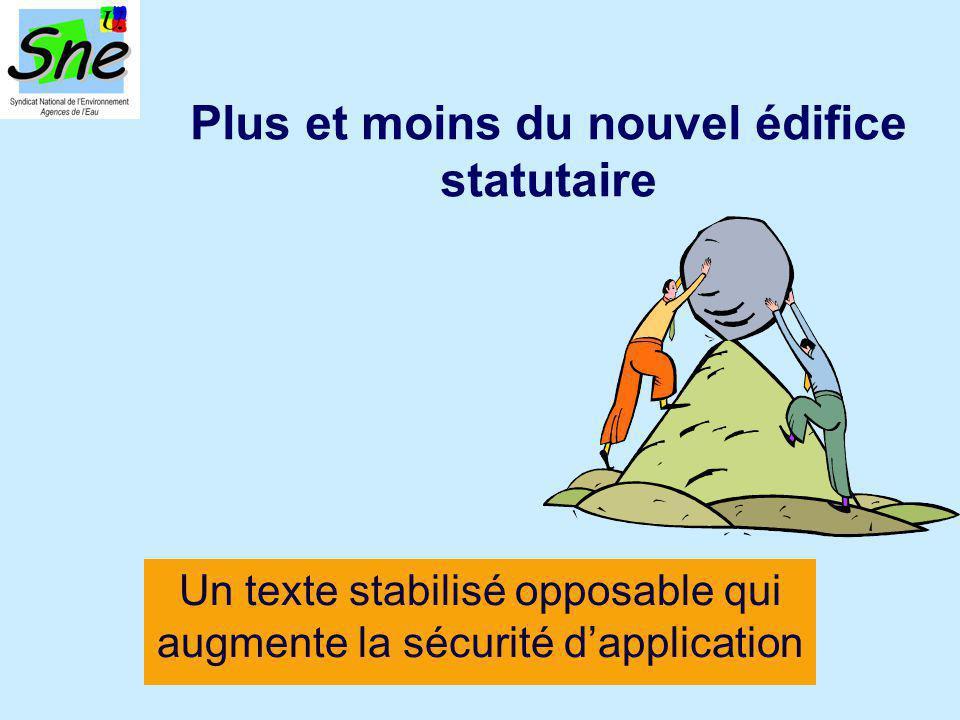 Plus et moins du nouvel édifice statutaire Un texte stabilisé opposable qui augmente la sécurité d'application