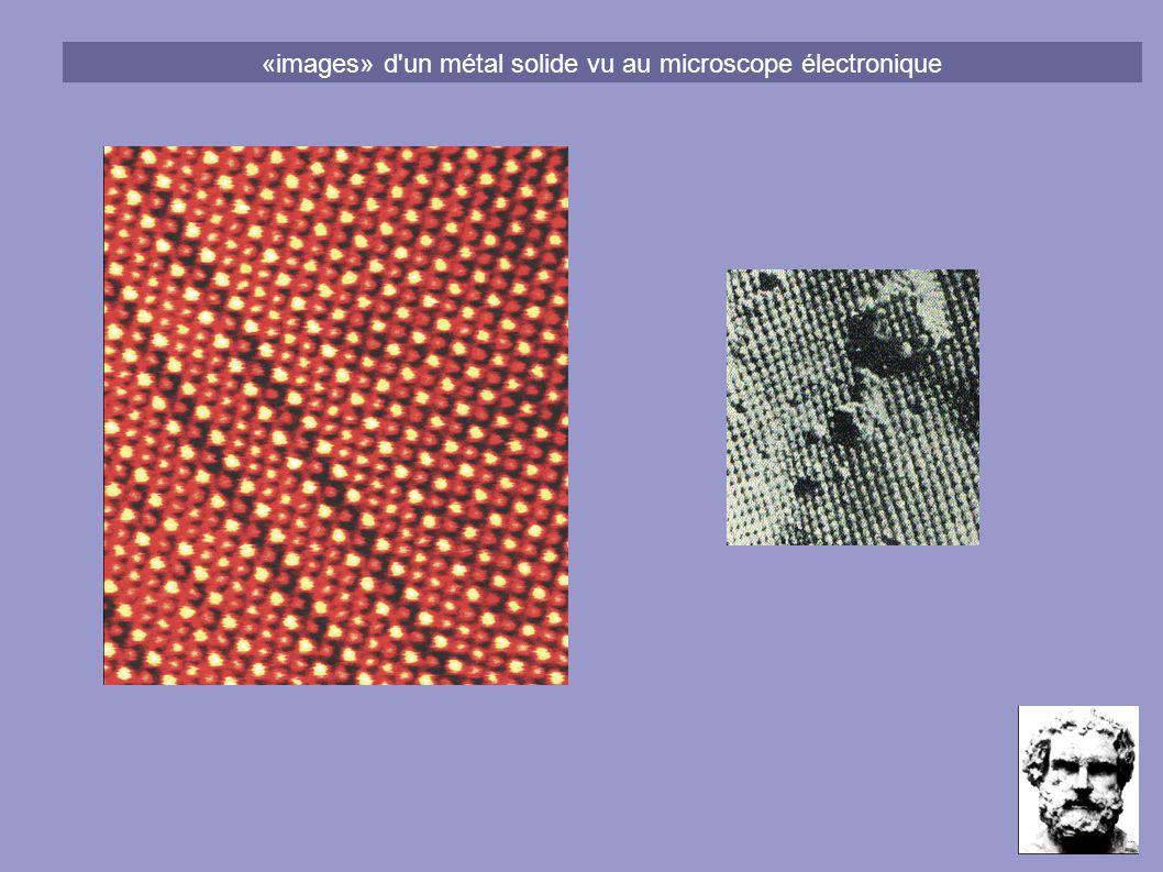 «images» d'un métal solide vu au microscope électronique