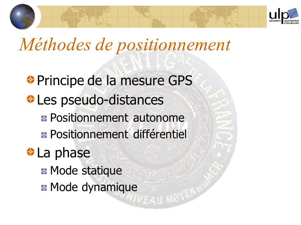 Méthodes de positionnement Principe de la mesure GPS Les pseudo-distances Positionnement autonome Positionnement différentiel La phase Mode statique M