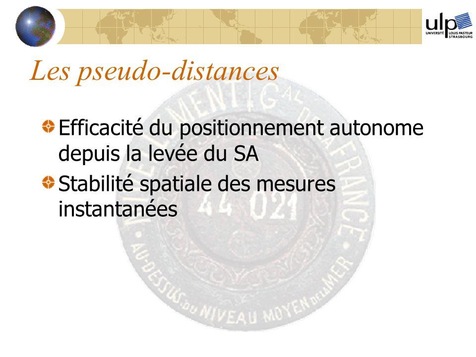 Les pseudo-distances Efficacité du positionnement autonome depuis la levée du SA Stabilité spatiale des mesures instantanées