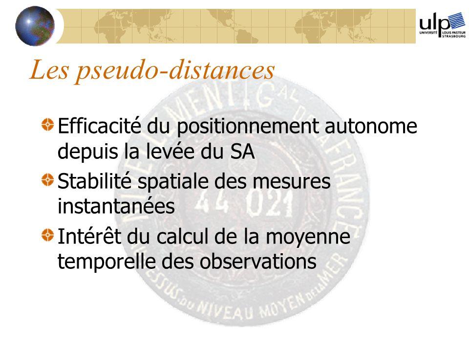 Les pseudo-distances Efficacité du positionnement autonome depuis la levée du SA Stabilité spatiale des mesures instantanées Intérêt du calcul de la m