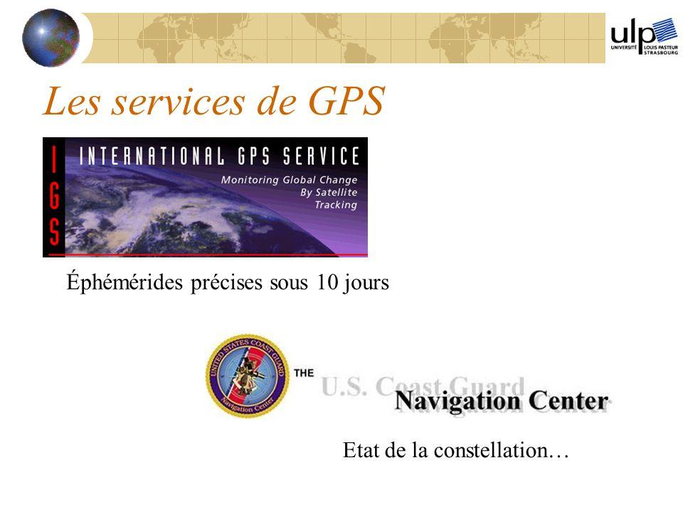 Les services de GPS Éphémérides précises sous 10 jours Etat de la constellation…