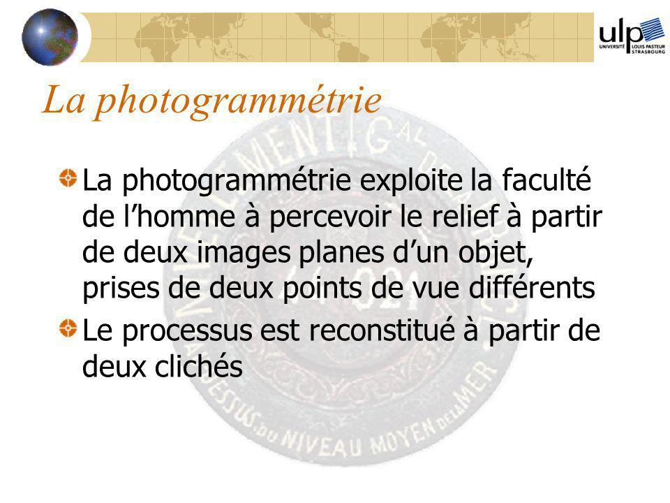 La photogrammétrie La photogrammétrie exploite la faculté de l'homme à percevoir le relief à partir de deux images planes d'un objet, prises de deux p