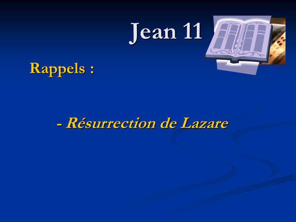 - Résurrection de Lazare Rappels :
