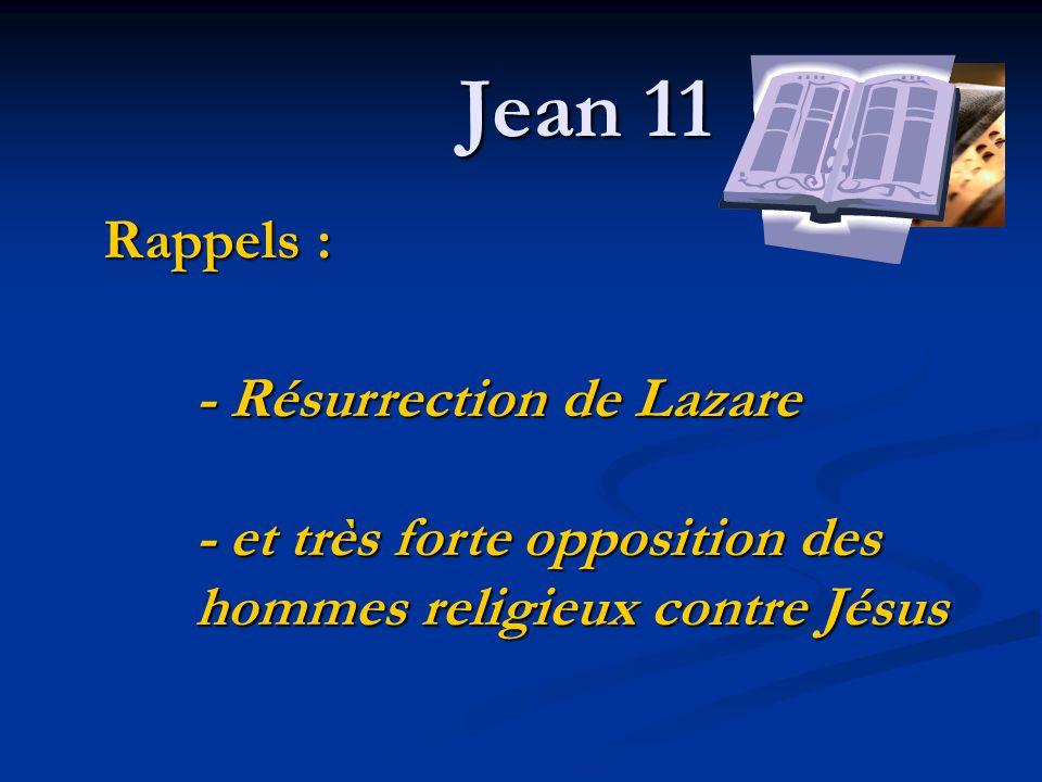Jean 11 - Résurrection de Lazare - et très forte opposition des hommes religieux contre Jésus Rappels :