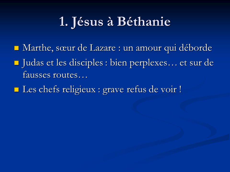 1. Jésus à Béthanie Marthe, sœur de Lazare : un amour qui déborde Marthe, sœur de Lazare : un amour qui déborde Judas et les disciples : bien perplexe