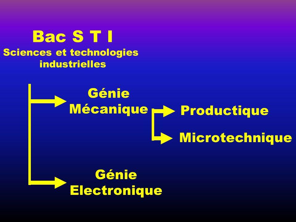 Génie Mécanique Bac S T I Sciences et technologies industrielles Génie Electronique Productique Microtechnique