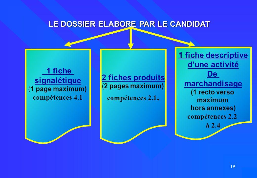 19 LE DOSSIER ELABORE PAR LE CANDIDAT 1 fiche signalétique (1 page maximum) compétences 4.1 2 fiches produits (2 pages maximum) compétences 2.1. 1 fic