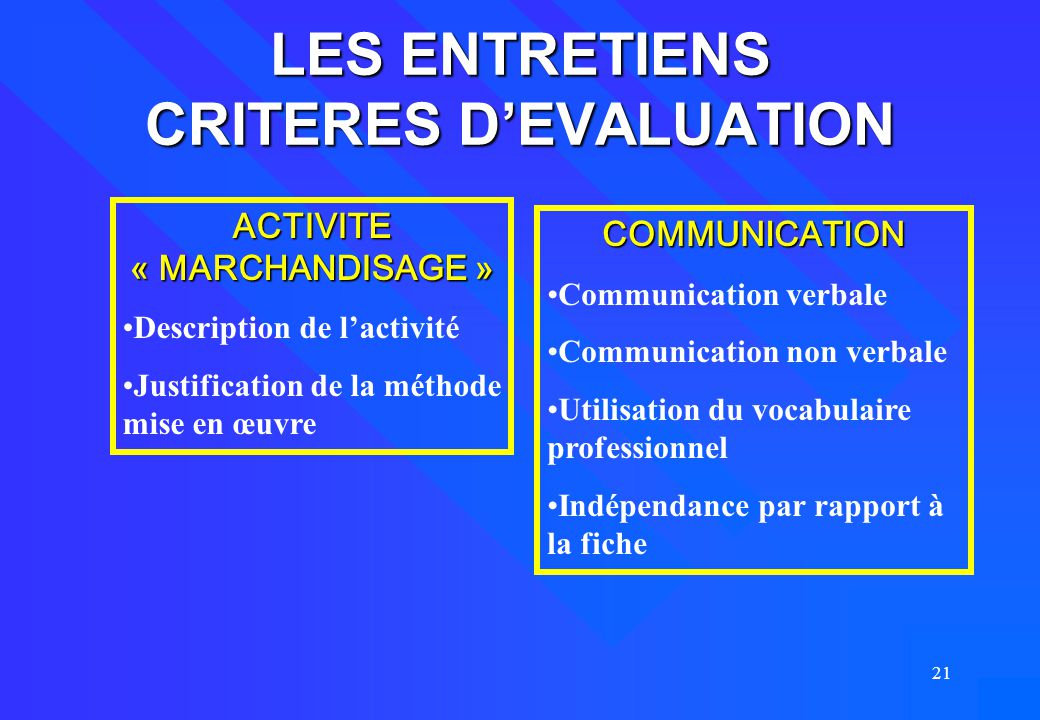 21 LES ENTRETIENS CRITERES D'EVALUATION ACTIVITE « MARCHANDISAGE » Description de l'activité Justification de la méthode mise en œuvre COMMUNICATION C