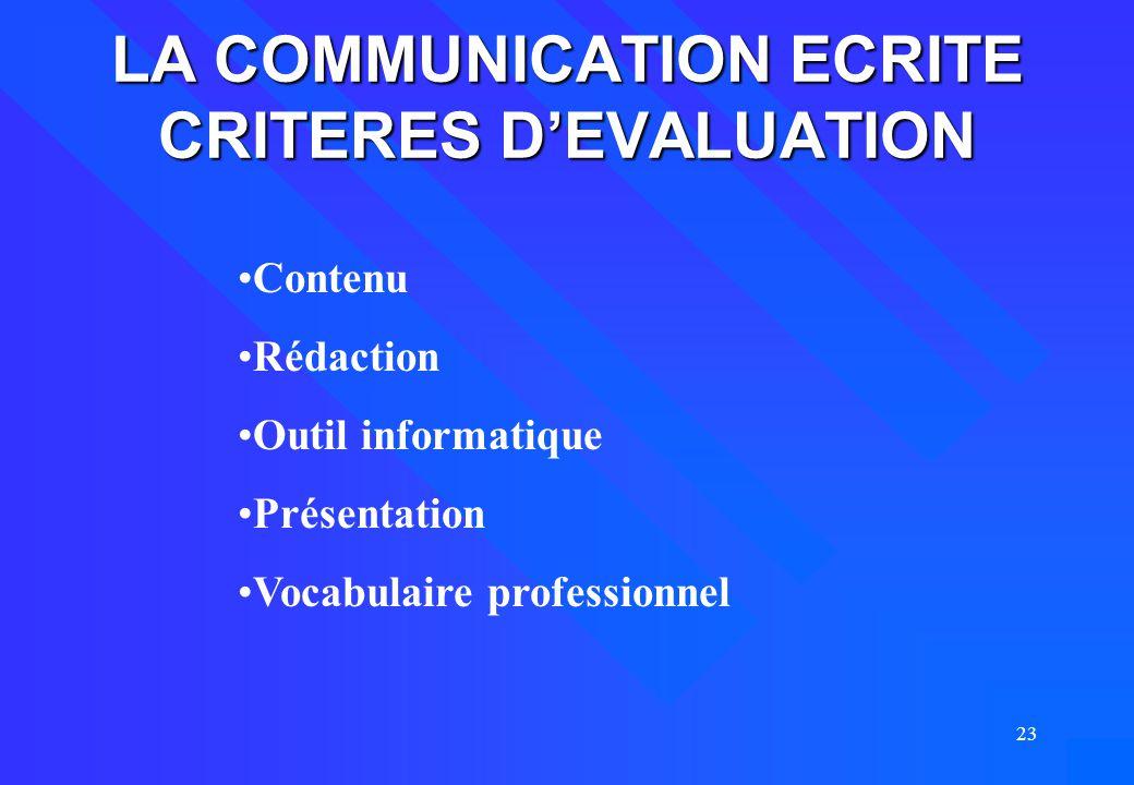 23 LA COMMUNICATION ECRITE CRITERES D'EVALUATION Contenu Rédaction Outil informatique Présentation Vocabulaire professionnel