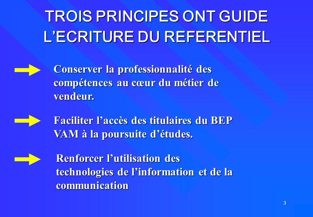 3 TROIS PRINCIPES ONT GUIDE L'ECRITURE DU REFERENTIEL Conserver la professionnalité des compétences au cœur du métier de vendeur. Faciliter l'accès de
