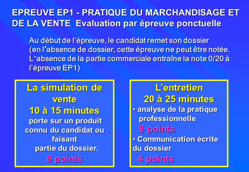 31 EPREUVE EP1 - PRATIQUE DU MARCHANDISAGE ET DE LA VENTE Evaluation par épreuve ponctuelle La simulation de vente 10 à 15 minutes porte sur un produi
