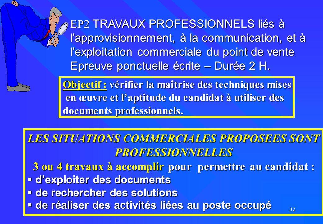 32 EP2 TRAVAUX PROFESSIONNELS liés à l'approvisionnement, à la communication, et à l'exploitation commerciale du point de vente Epreuve ponctuelle écr
