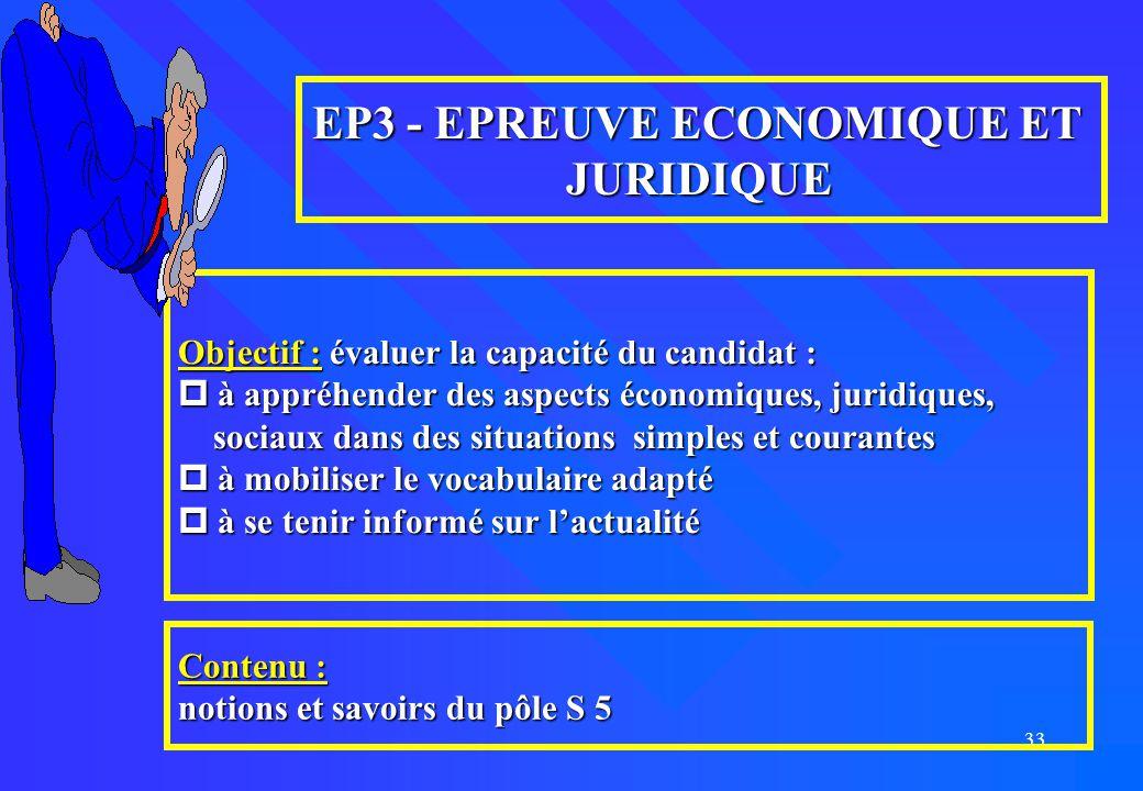 33 EP3 - EPREUVE ECONOMIQUE ET JURIDIQUE Objectif : évaluer la capacité du candidat :  à appréhender des aspects économiques, juridiques, sociaux dan
