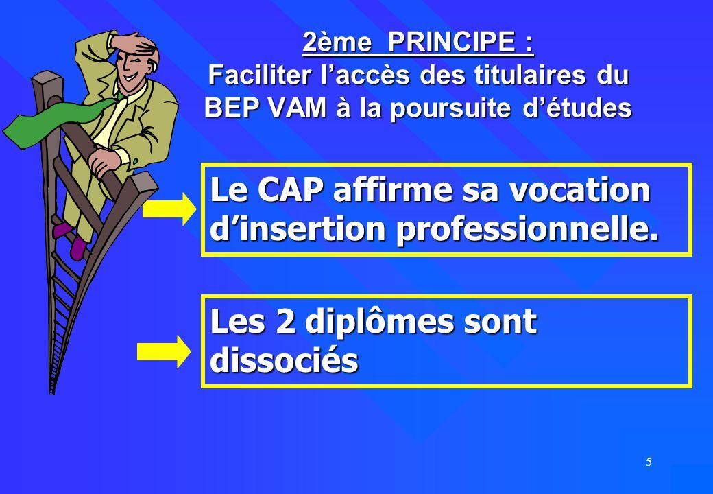 5 2ème PRINCIPE : Faciliter l'accès des titulaires du BEP VAM à la poursuite d'études Le CAP affirme sa vocation d'insertion professionnelle. Les 2 di