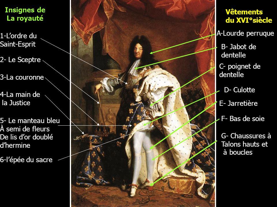 Insignes de La royauté 1-L'ordre du Saint-Esprit 2- Le Sceptre 3-La couronne 4-La main de la Justice 5- Le manteau bleu À semi de fleurs De lis d'or d