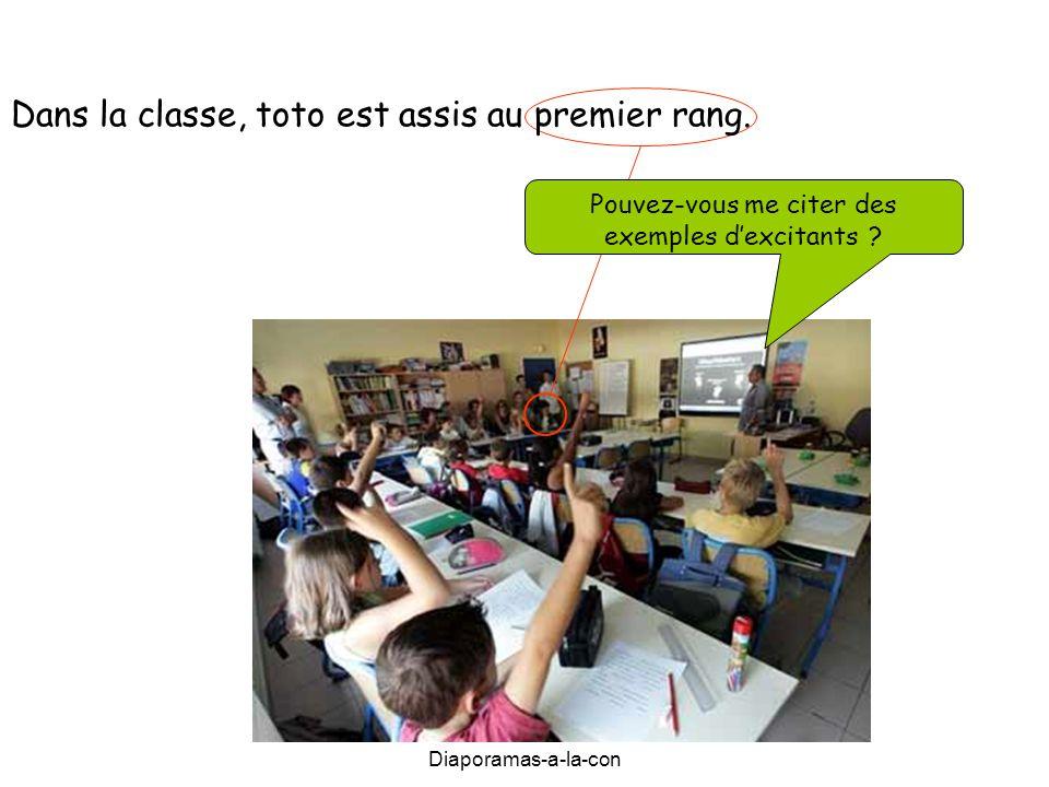 Diaporamas-a-la-con Diaporama PPS réalisé pour http://www.diapora mas-a-la-con.com Dans la classe, toto est assis au premier rang. Pouvez-vous me cite