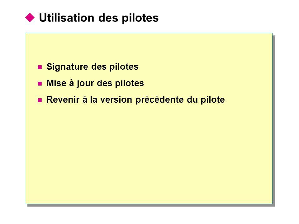  Utilisation des pilotes Signature des pilotes Mise à jour des pilotes Revenir à la version précédente du pilote