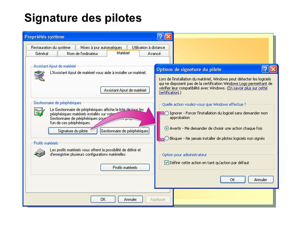 Signature des pilotes