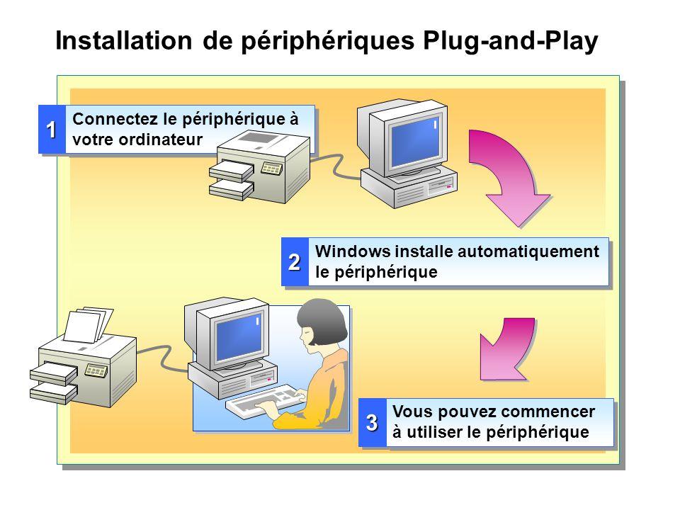 Installation de périphériques Plug-and-Play 11 Connectez le périphérique à votre ordinateur 22 Windows installe automatiquement le périphérique 33 Vou