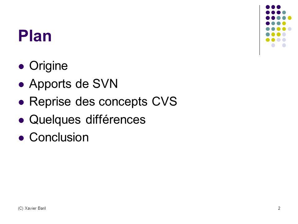 Origine CVS est un standard de fait CVS a certaines limites … en 2004, certains développeurs de CVS ont lancé Subversion (SVN), dans le but explicite de remplacer CVS tout en conservant sur les bases qu il a établies.Subversion (C) Xavier Baril3