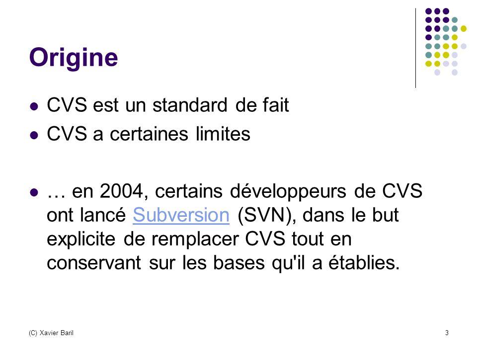 Origine CVS est un standard de fait CVS a certaines limites … en 2004, certains développeurs de CVS ont lancé Subversion (SVN), dans le but explicite