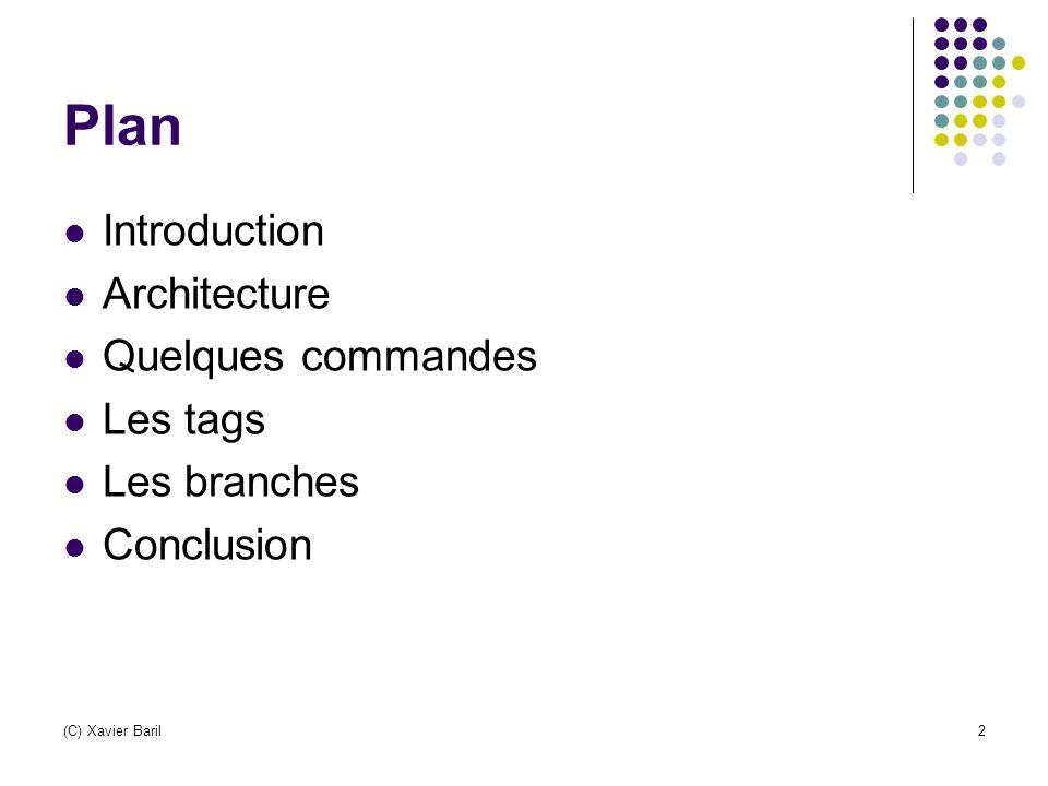 (C) Xavier Baril13 Quelques commandes (1) Cvs add Nécessaire lorsqu'on créé un nouveau fichier (ou répertoire) pour l'ajouter au module Seules les modifications en local sont effectuées : utiliser cvs commit Cvs checkout Demander au serveur de renvoyer les fichiers d un module