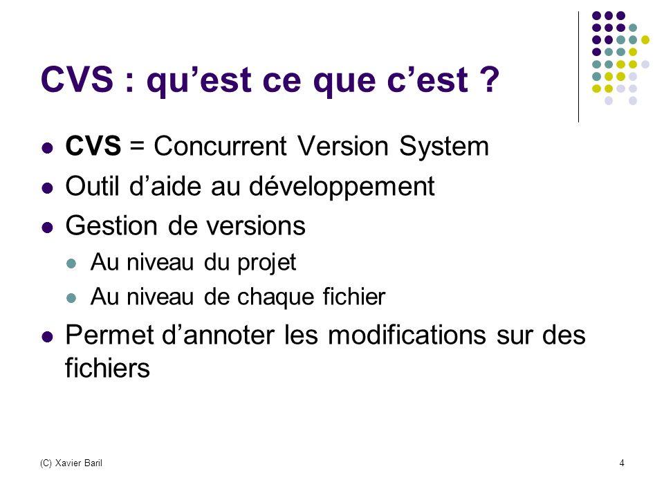 (C) Xavier Baril25 Conclusion (2) Points forts Performant pour la gestion de versions Accès à distance du dépôt Très utilisé Intégré dans de nombreux outils Gratuit, open-source