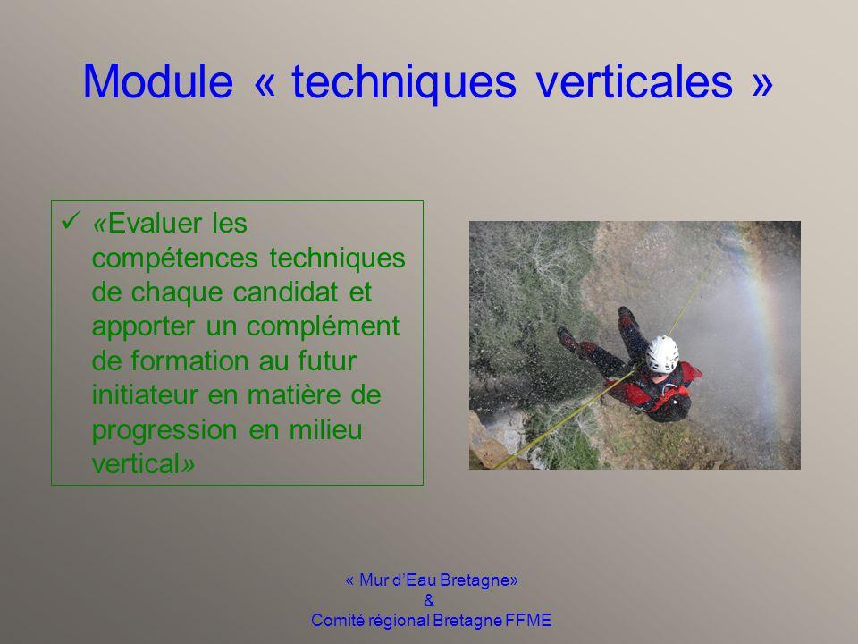 « Mur d'Eau Bretagne» & Comité régional Bretagne FFME Module « techniques aquatiques » «Évaluer les compétences techniques de chaque candidat et appor