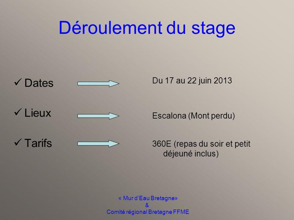 « Mur d'Eau Bretagne» & Comité régional Bretagne FFME Objectifs du stage Valider des compétences Pour encadrer et animer un groupe Dans les prérogativ