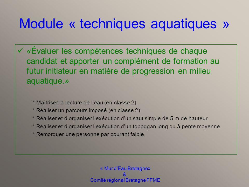« Mur d'Eau Bretagne» & Comité régional Bretagne FFME Module « connaissance de l'activité » «Vérifier que le candidat connaisse les règles de pratique, de protection de l'environnement, et lui permettre d avoir un comportement adapté dans des situations particulières (gestion d un accident, etc.).