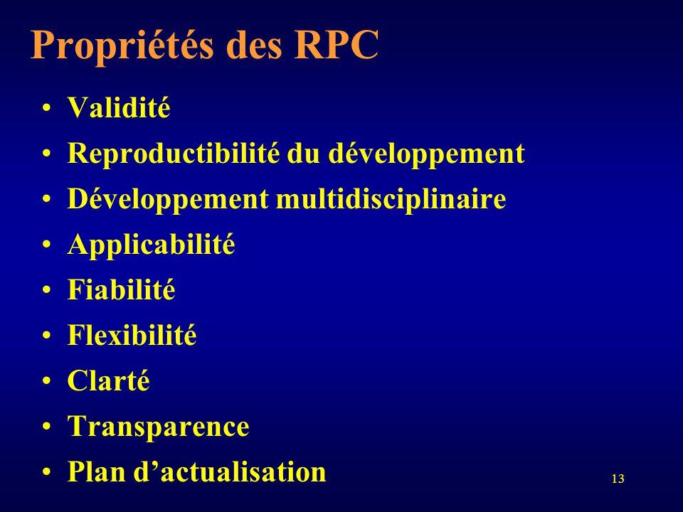 13 Propriétés des RPC Validité Reproductibilité du développement Développement multidisciplinaire Applicabilité Fiabilité Flexibilité Clarté Transpare