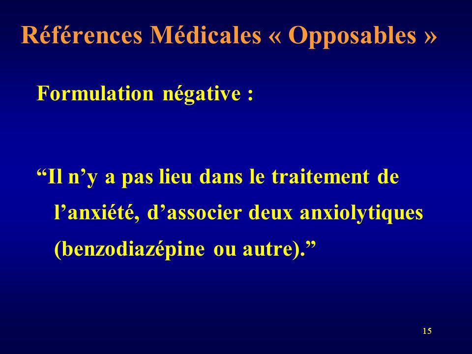 """15 Références Médicales « Opposables » Formulation négative : """"Il n'y a pas lieu dans le traitement de l'anxiété, d'associer deux anxiolytiques (benzo"""