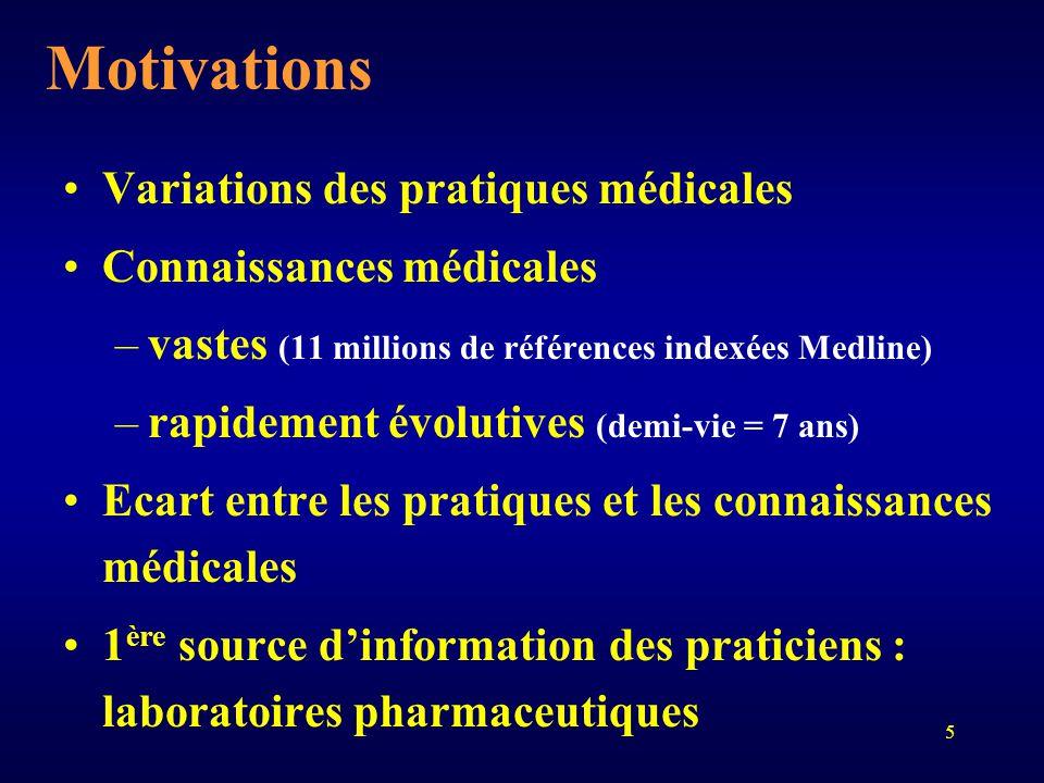 5 Motivations Variations des pratiques médicales Connaissances médicales –vastes (11 millions de références indexées Medline) –rapidement évolutives (