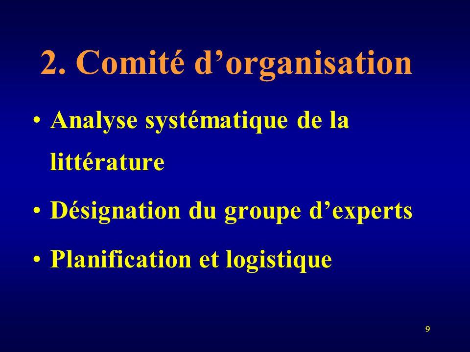 9 2. Comité d'organisation Analyse systématique de la littérature Désignation du groupe d'experts Planification et logistique