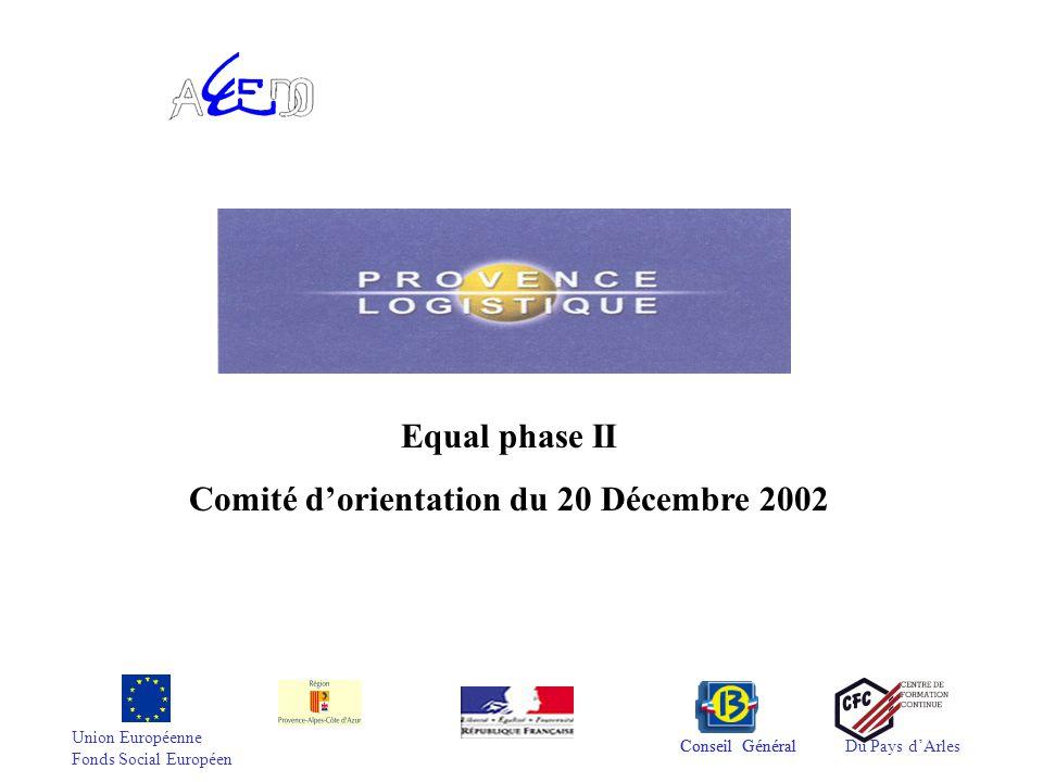 Union Européenne Fonds Social Européen Conseil GénéralDu Pays d'Arles Equal phase II Comité d'orientation du 20 Décembre 2002 Conseil Général