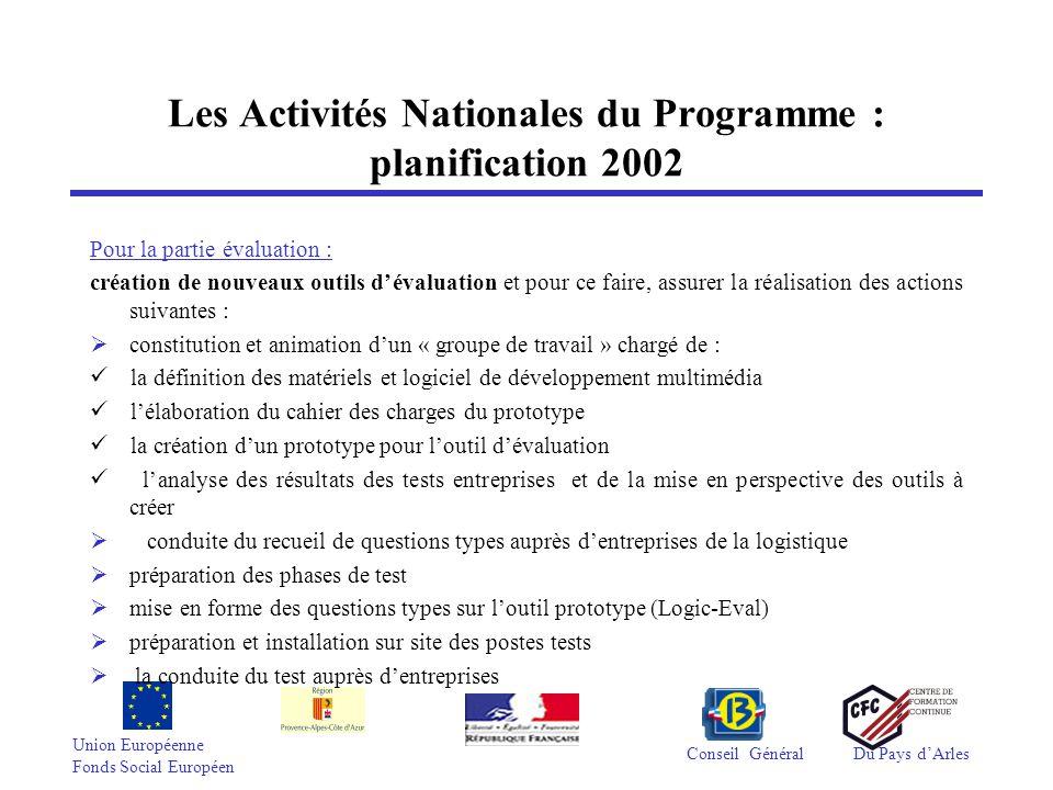 Union Européenne Fonds Social Européen Conseil GénéralDu Pays d'Arles Les Activités Nationales du Programme : planification 2002 3.