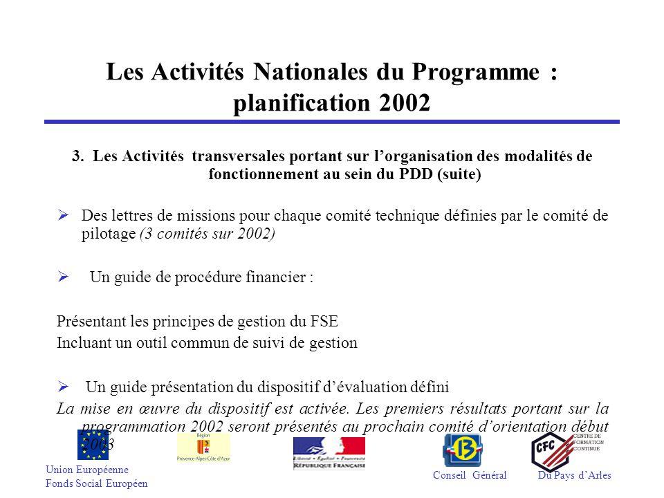 Union Européenne Fonds Social Européen Conseil GénéralDu Pays d'Arles Points sur les réalisations menées à ce jour dans le cadre de la Veille  Mise en place par chacun des co-réalisateurs d'un plan d'actions détaillé.
