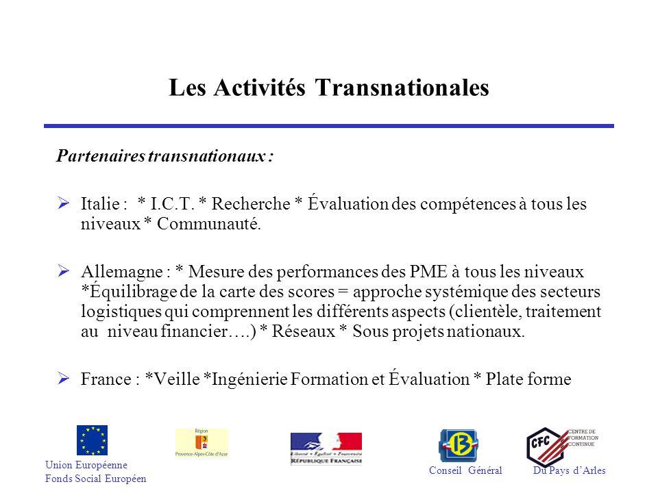 Union Européenne Fonds Social Européen Conseil GénéralDu Pays d'Arles Les Activités Transnationales Partenaires transnationaux :  Italie : * I.C.T.