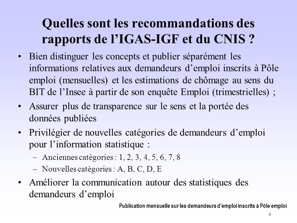Publication mensuelle sur les demandeurs d'emploi inscrits à Pôle emploi 4 Quelles sont les recommandations des rapports de l'IGAS-IGF et du CNIS .