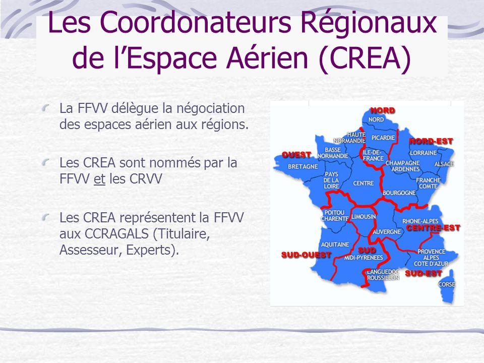 Les Coordonateurs Régionaux de l'Espace Aérien (CREA) La FFVV délègue la négociation des espaces aérien aux régions. Les CREA sont nommés par la FFVV