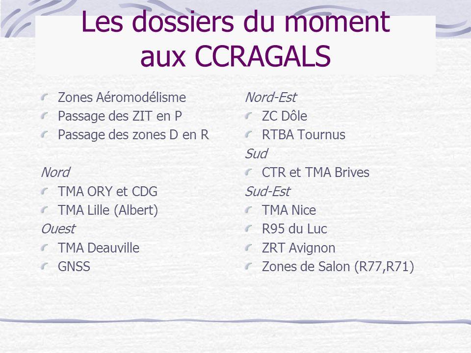 Les dossiers du moment aux CCRAGALS Zones Aéromodélisme Passage des ZIT en P Passage des zones D en R Nord TMA ORY et CDG TMA Lille (Albert) Ouest TMA