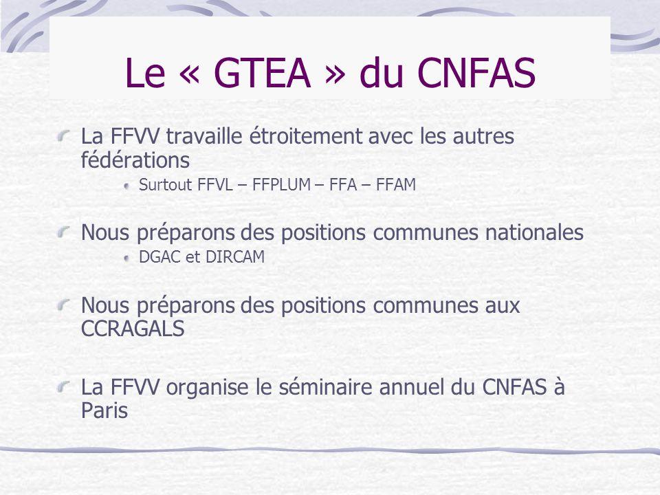 Le « GTEA » du CNFAS La FFVV travaille étroitement avec les autres fédérations Surtout FFVL – FFPLUM – FFA – FFAM Nous préparons des positions commune